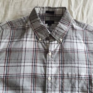 J. Crew Slim Plaid Button Down Shirt White Medium